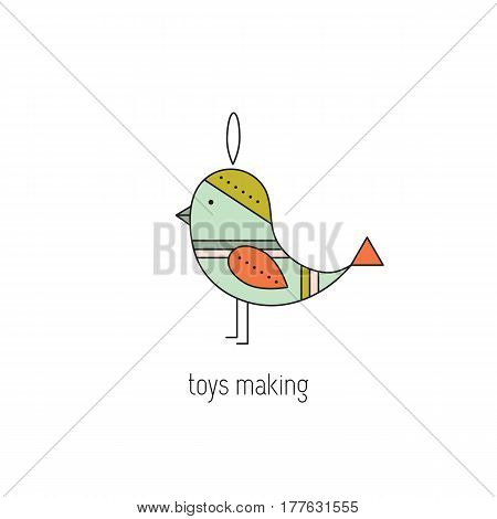 Toys making vector thin line icon. Handmade toy bird. Colored isolated symbol. Logo template, element for business card or workshop announcement. Simple mono linear modern design.