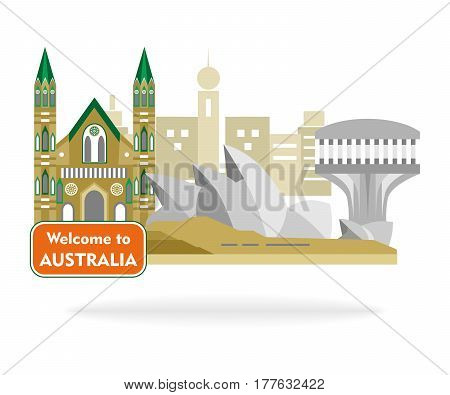 set in the style of a flat design on the theme of Australia.
