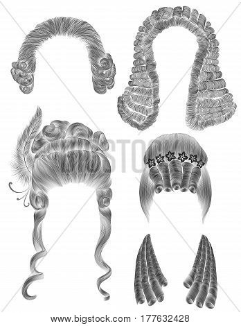 set woman and man hairs  . black  pencil drawing sketch . medieval style rococo baroque . wig   curls hairstyle