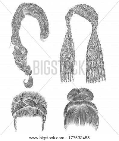 set woman hairs  . black  pencil drawing sketch . bun babette with  fringe hairstyle.women fashion  beauty style. african cornrows .