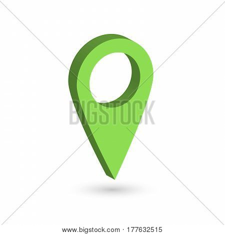 Green 3D map pointer with dropped shadow on white background. EPS10 vector illustration.
