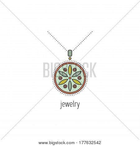 Jewelry vector thin line icon. Beautiful necklace with gemstones. Colored isolated symbol. Logo template, element for business card or workshop announcement. Simple mono linear modern design.