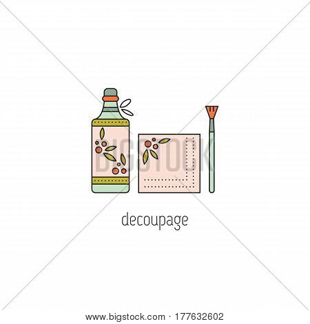 Decoupage vector thin line icon. Bottle, decorated by hand in special technique. Isolated symbol. Logo template, element for business card or workshop announcement. Simple mono linear modern design.