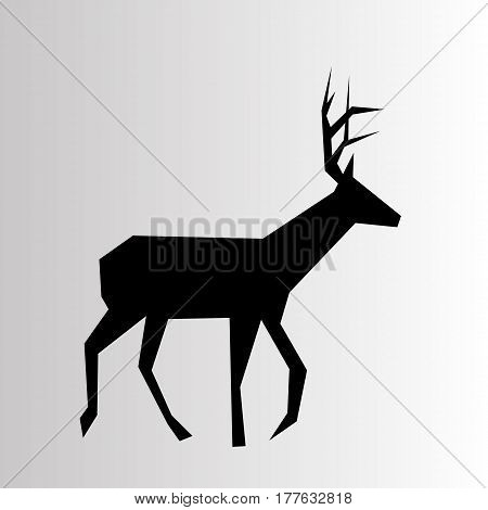 christmas reindeer silhouettes on the white background