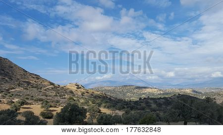 panoramic viwe over the countryside in Crete