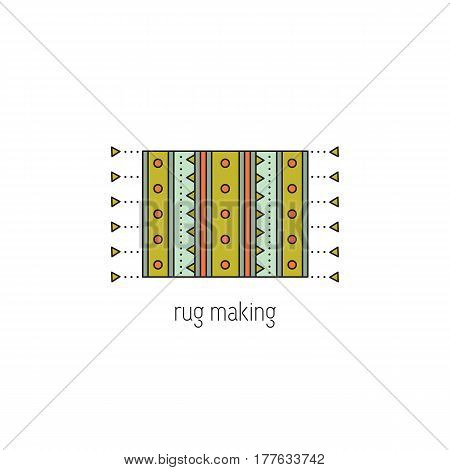 Rug making vector thin line icon. Handmade woven mat. Colored isolated symbol. Logo template, element for business card or workshop announcement. Simple mono linear modern design.