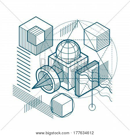 Isometric linear abstract vector background lined abstraction. Cubes hexagons squares rectangles and different abstract elements.