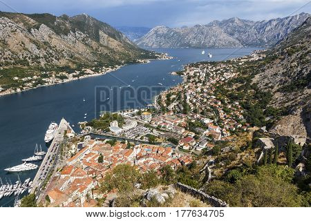 Aerial View of Kotor bay in beautiful summer day.