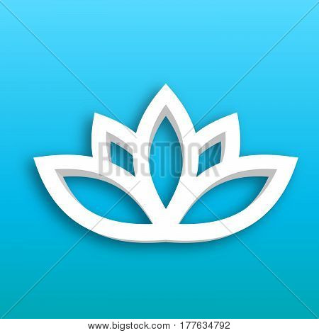Lotus flower 3d Icon on blue gradient background. Wellness, spa, yoga, beauty and healthy lifestyle theme. Vector illustration.