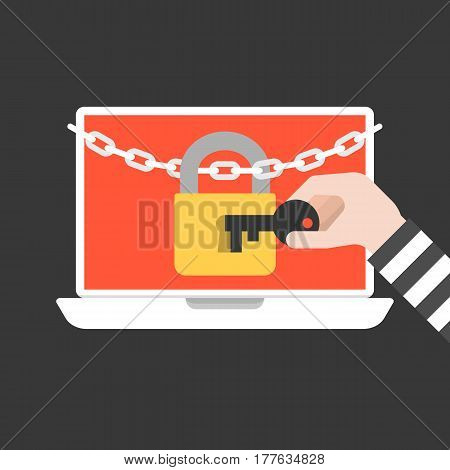thief hand holding key to open lock and chain on laptop screen, personal data protection concept, flat design vector