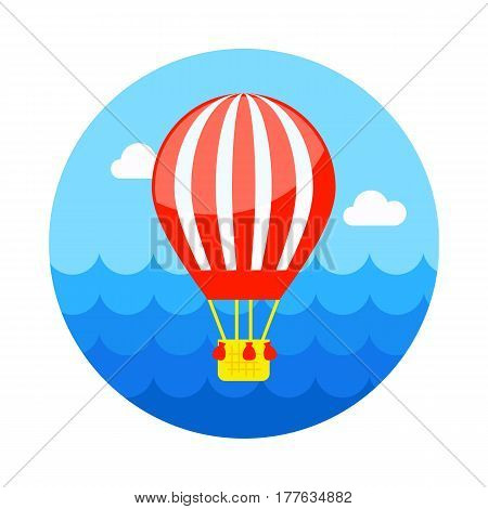 Hot Air Balloon vector icon. Travel. Summer. Summertime. Holiday. Vacation eps 10