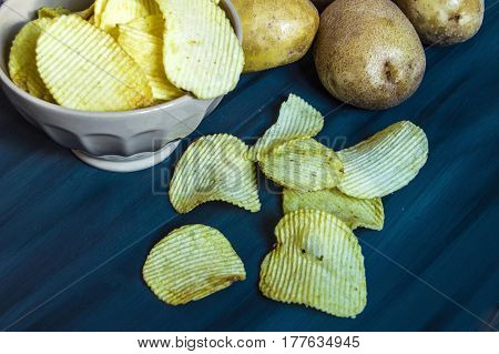 potatoes and potato products, fried potato slices, potato slices fried serrated, fried potato flakes in a furnace,fried potato chips