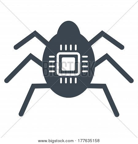 Hardware Bug vector icon. Flat smooth blue symbol. Pictogram is isolated on a white background. Designed for web and software interfaces.
