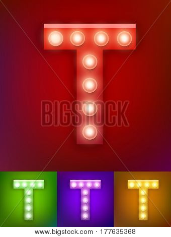 Vector illustration of realistic old lamp alphabet for light board. Red Gold and pink options. Vintage vegas show typography. Letter T