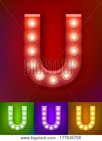 Vector illustration of realistic old lamp alphabet for light board. Red Gold and pink options. Vintage vegas show typography. Letter, U