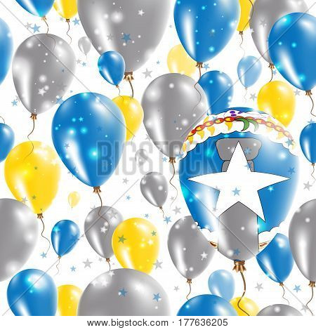 Northern Mariana Islands Independence Day Seamless Pattern. Flying Rubber Balloons In Colors Of The