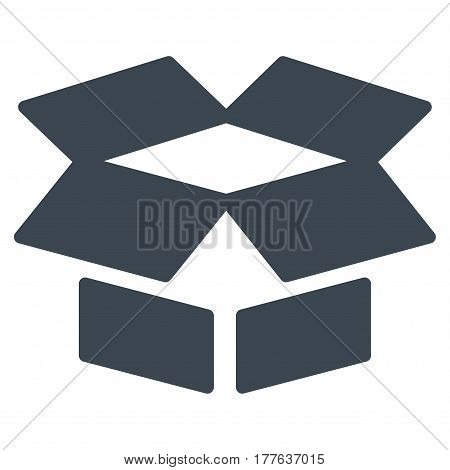 Open Box vector icon. Flat smooth blue symbol. Pictogram is isolated on a white background. Designed for web and software interfaces.