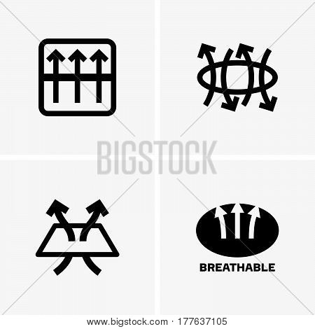 Set of four breathable signs on grey background