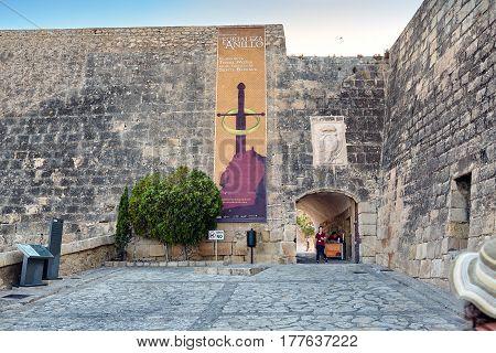 Alicante, Spain - July, 10, 2015: The entrance to the castle of Santa Barbara