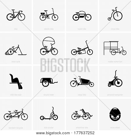 Set of sixteen types of bicycles on grey background