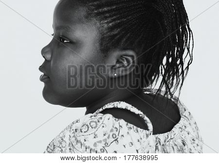 African descent girl studio portrait