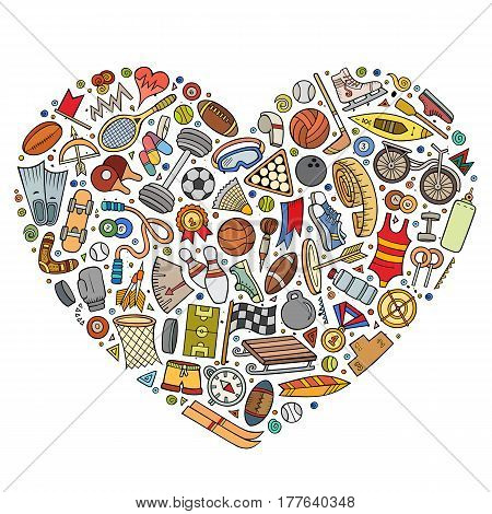 Colorful vector hand drawn set of Sport cartoon doodle objects, symbols and items. Heart form composition