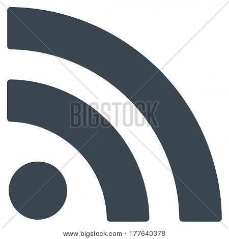 Rss vector icon. Flat smooth blue symbol. Pictogram is isolated on a white background. Designed for web and software interfaces.