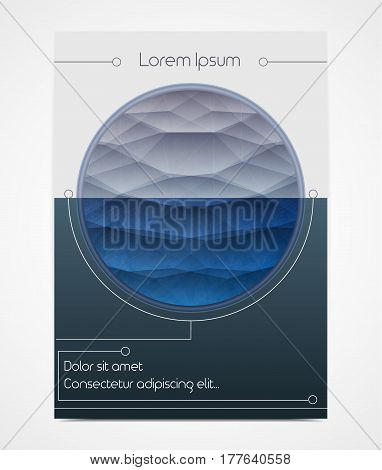 Cover design with polygonal circle. Horizon line in a round frame. Sea or ocean. Geometric style. It can be used as poster booklet brochure book. Size A4. Vector illustration eps10