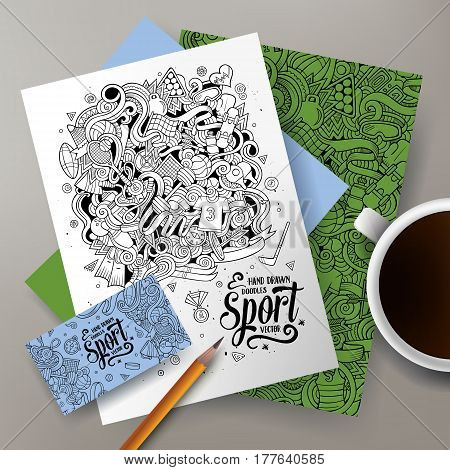 Cartoon cute vector hand drawn doodles Sport corporate identity set. Templates design of business card, flyers, posters, papers on the table