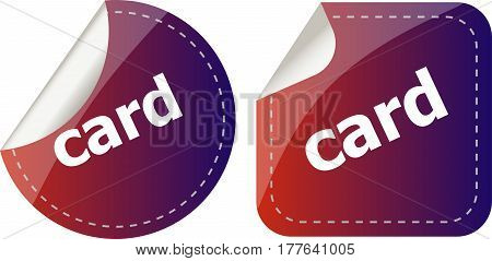 Card Word Stickers Set, Web Icon Button