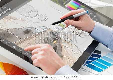 designer graphic drawing interior creative creativity draw work tablet screen sketch designing