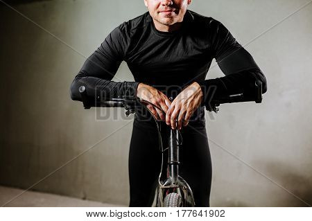 Cycle Man With Bike Indoors