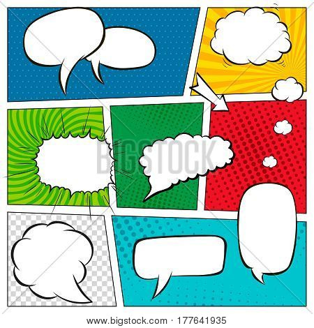 Comic book page template with halftone effect and speech bubbles. Background in pop-art style. Vector illustration.