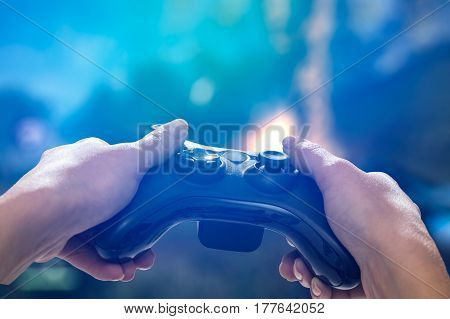 gaming game play tv fun gamer gamepad guy controller video console playing