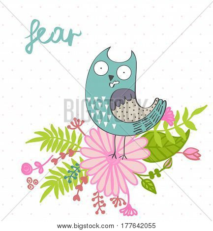 Fear. Vector illustration of a cartoon owl