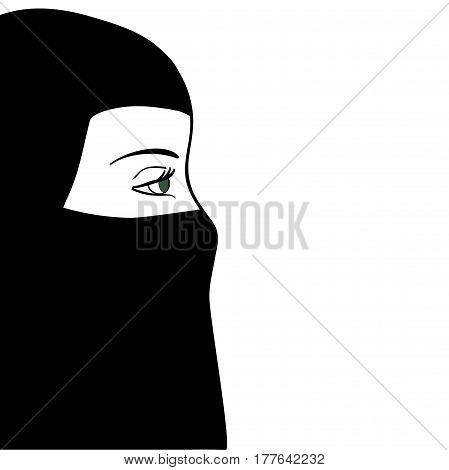 Beautiful muslim woman in black nijab. Vector illustration.