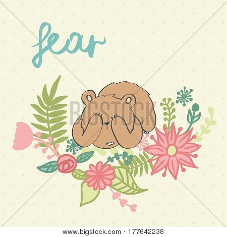 Fear. Vector illustration of a cartoon bear