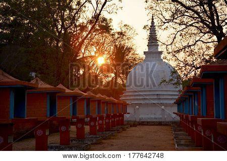 Magnificent white stupa at sunset in Sigiriya Sri Lanka