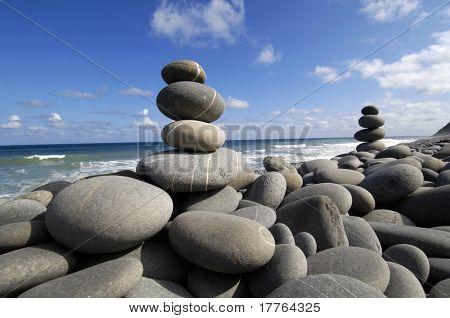 Zen arrangement â??stacks stone on the seashore