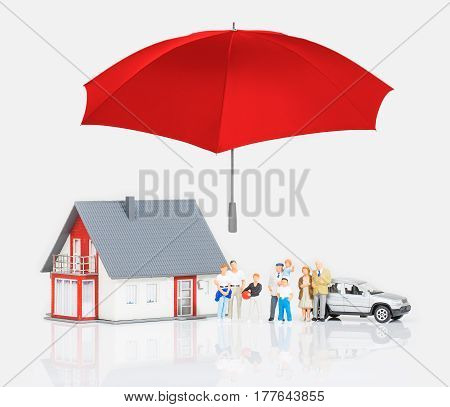 Insurance Home House Live Car Protection Protect People Concepts