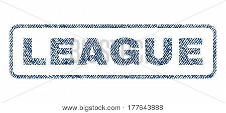 League text textile seal stamp watermark. Blue jeans fabric vectorized texture. Vector tag inside rounded rectangular banner. Rubber sticker with fiber textile structure.