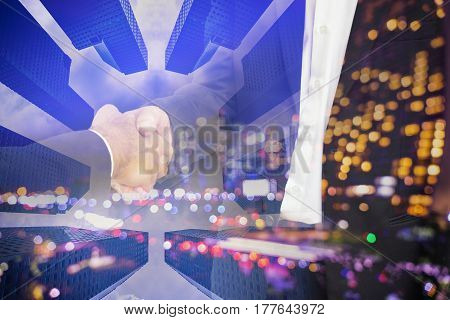 scene of businessman shakehand for commit on double exposure - can use to display or montage on product