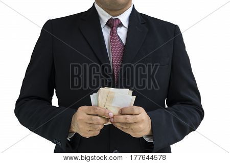 businessman and red tie black suit count and hold money on isolate - can use to display or montage on product