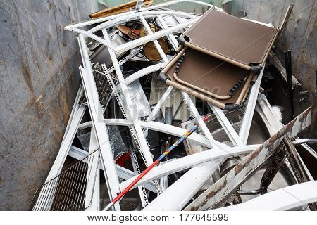 Pile of sorted metallic waste prepared for recycling. Waste disposal collection separation management treatment reuse recycle and recovery concept.