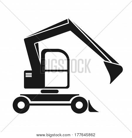The black silhouette of an excavator with a dipper. Isolated on white. vehicle construction