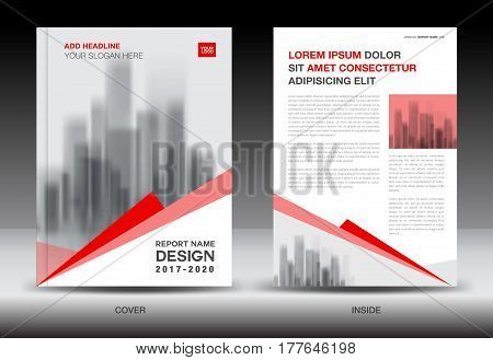 Annual report brochure flyer template Red cover design business book booklet polygon background