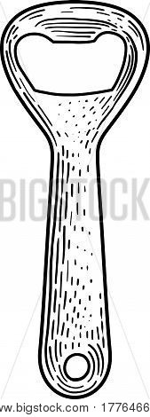 Bottle opener illustration, drawing, engraving, ink, line art