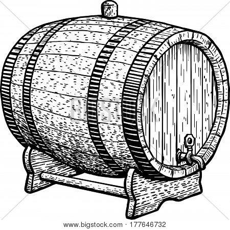 Barrel illustration, drawing, engraving, ink, line art