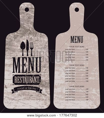 menu for the restaurant with price list in the form of wooden cutting board with a picture of cutlery
