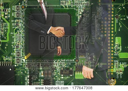 abstract commitment of CEO on mainboard computer in double exposure style - can use to display or montage product